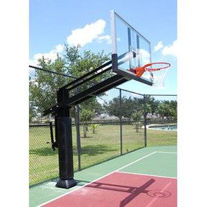 Height adjustable in ground basketball stand with padding