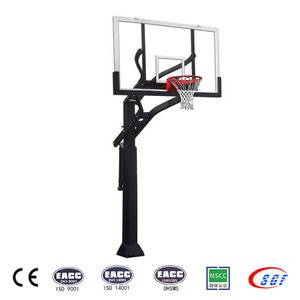 Adjustable tempered glass backboard in ground basketball post pole