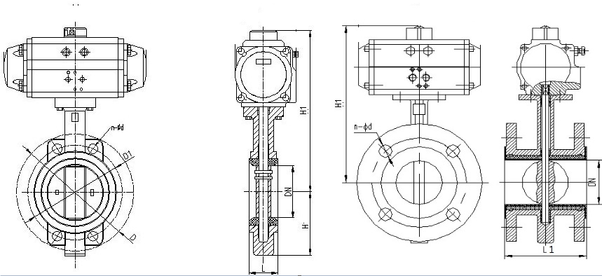 dawing for butterfly valve