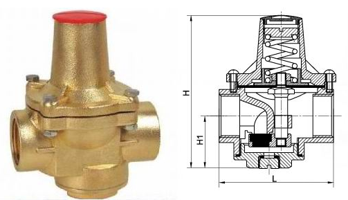 Brass reducing valve
