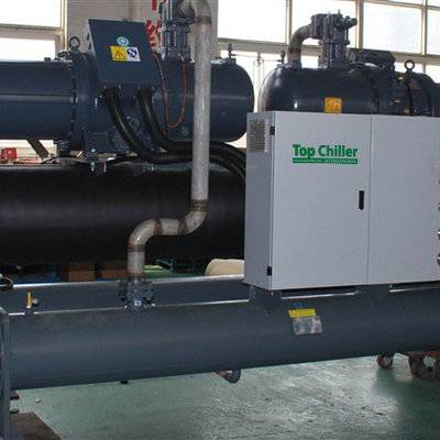360KW capacit -10C° water cooled glycol chiller with 2 screw compressors in concrete batch process