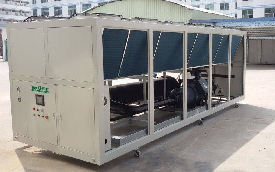 360KW air cooled screw compressor chiller for hot melt adhesive machine use in Jakarta Indoneisa