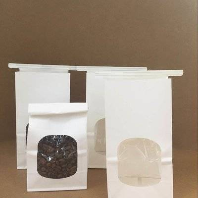 White Kraft Paper Bag with Window and Tin Tie