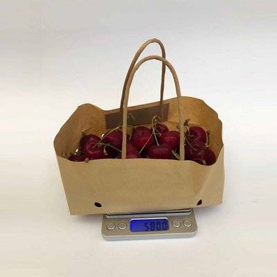 wet strength cherry paper bag with ventilation and handle