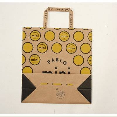 brown craft paper carry bag with flat handle