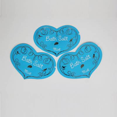 Custom printed heart shaped foil bag for bath salt packaging