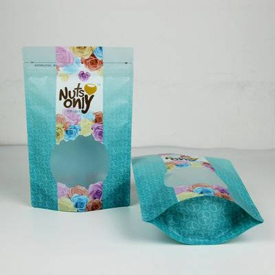 Matte plastic stand up food packaging pouch with zipper and window