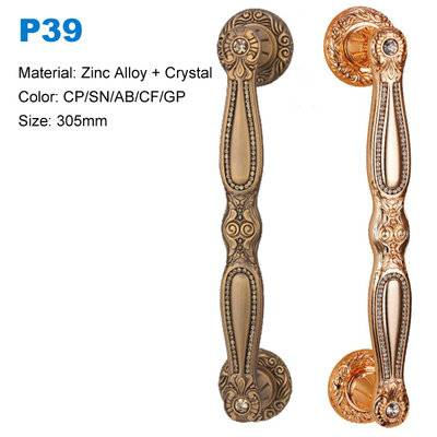 Zinc crystal door handle pull Euro design door handle Decorative door handle price china factory P39