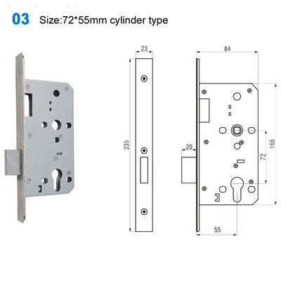 lock body/door handle lock/lock mechanism/Akcesoria /замки 03 Size:72*55mm cylinder type