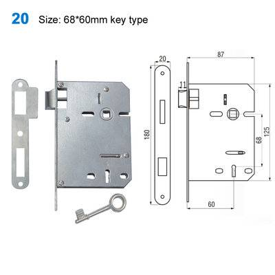 lock body/door handle lock/lock mechanism/fechaduras internos/Входные двери 20 Size:68*60mm key type