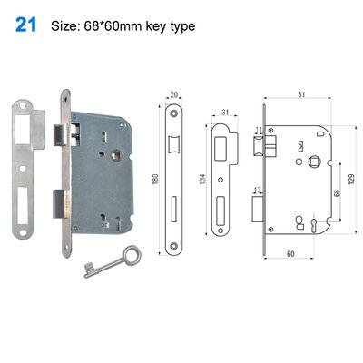 lock body/door handle lock/lockmechanism/Conjuntosde Interior/Ручки на планке21Size:68*60mm key type