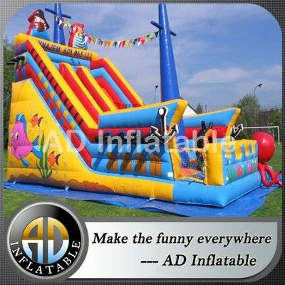 Pirate ship Inflatable slides for children, huge commercial inflatable water slides for sale