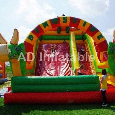 Cute Dinosaur inflatable slide for children, pool with waterslide, water slip and slide
