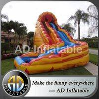 Lava Flow Water Slide,Dual Lane Water Slide,Volcano waterslide,bouncy house,customized bouncy castles,double drop falls water slide