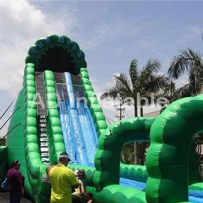 Green Largest MONSTER hulk Water Slide/above ground pool water slides China company
