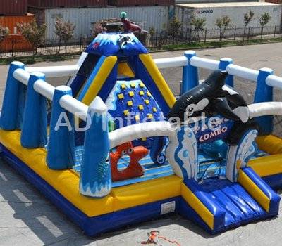 Funny inflatable bouncer commerical jumping castle with slide for little kids play