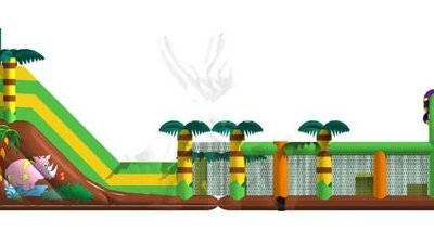Jungle Inflatable trampoline Frog obstacle course in 2 parts