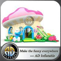 Mushroom inflatable slide,Bouncy slide smurf,Commercial inflatable game,customized inflatable house,inflatable house design