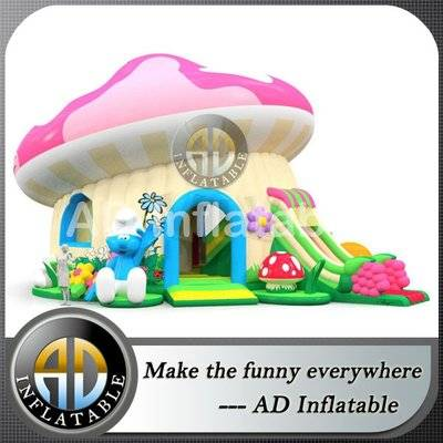 Active center smurf attraction with huge slide, park inflatable equipment