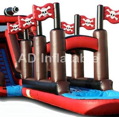 Pirate inflatable water slide, pirate ship giant inflatable slide with pool