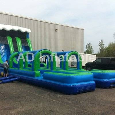 Giant surf doule lanes Inflatable water slide with slip slide for party rentals