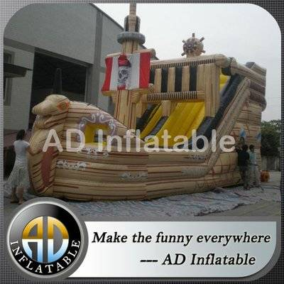 Durable commercial pirate ship water slides inflatable bouncy slides