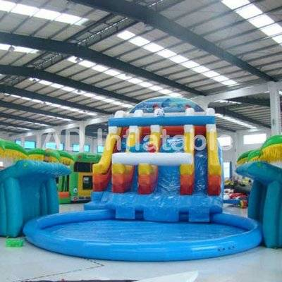 Dolphin jungle Water Park Giant Inflatable Pool Water Slide for Sale