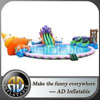 Swimming water slides,Inflatable giant water park,Octopus water park