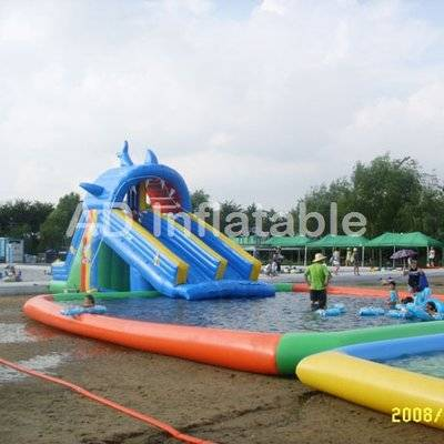 Shark inflatable giant water pool park games swimming pools with water slides