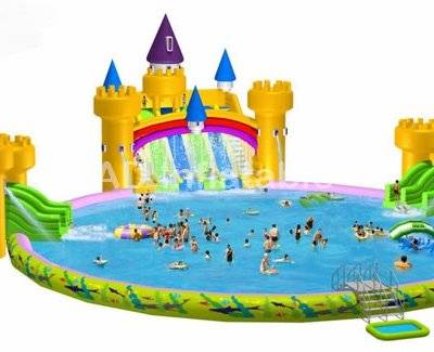 Castle inflatable water park,inflatable water amusement with pool