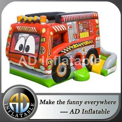 2015 new design fire truck combo jumping castles with slide