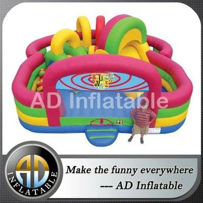 Pink inflatable fun center kids bouncer maze