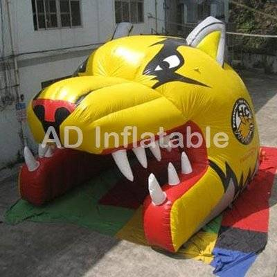 China tiger inflatable helmet sports tunnel tent, helmet inflatable tent