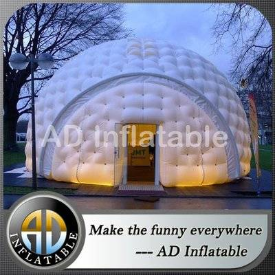 14m white inflatable balloon tents, light inflatable igloo dome with detachable door