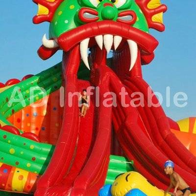 Giant dragon Inflatable Water Park with big pool, Aqua Inflatable water slide Park