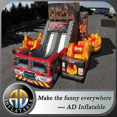 Inflatable Fire Rescue Obstacle Course, Transformers fire Truck Slide combo Obstacle Course