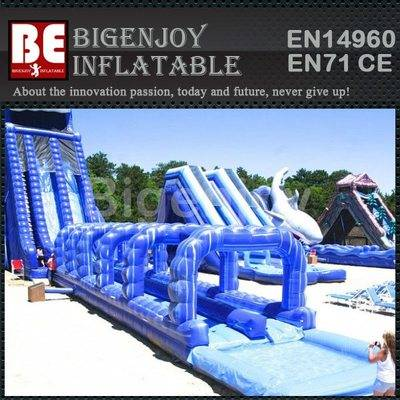 PVC Material Commercial Inflatable Water Slide With Pool