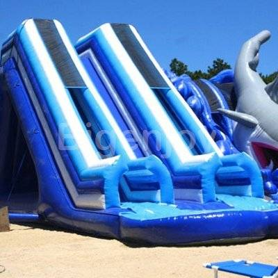Giant double tube water slide with pool