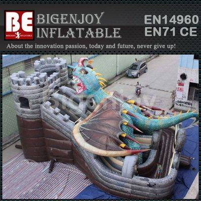 Fierce dragon Inflatable pvc slide with triple lane