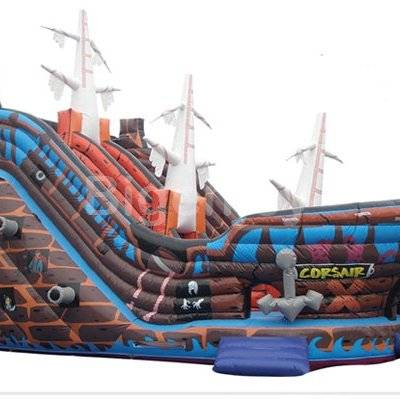 Bouncy inflatable pirate ship slide 4 in 1 combo
