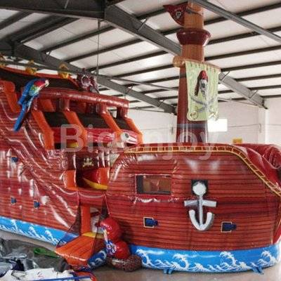 Attractive inflatable pirate ship slide