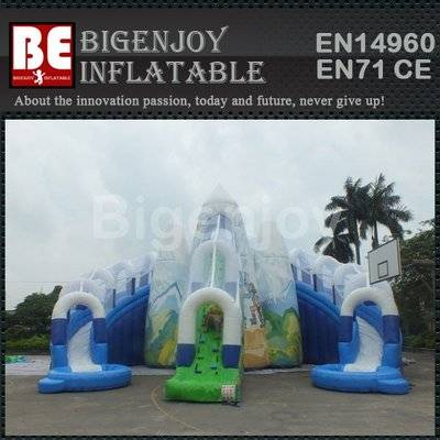 Mountain water slide with climbing