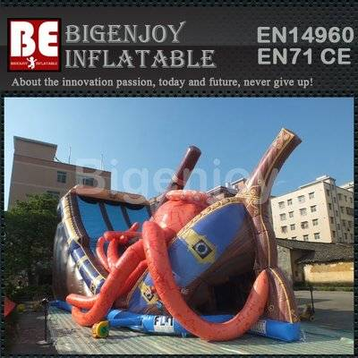 Octopus pirate ship inflatable slide