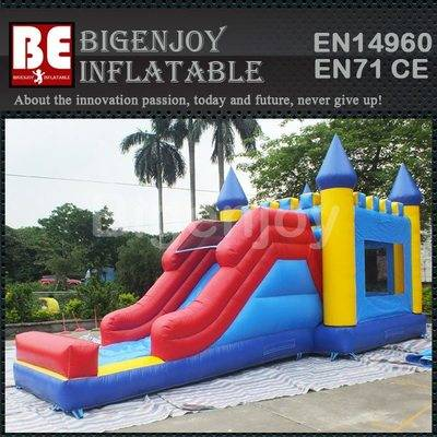 Inflatable combo with trampoline and slide