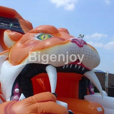Sabre tooth inflatable tiger slide