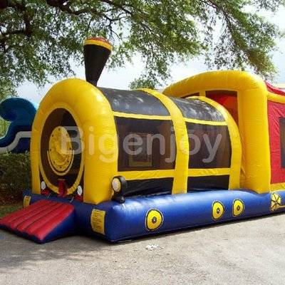 Inflatable train moon bounce