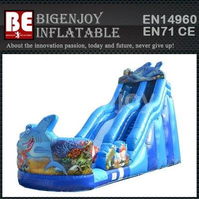 Commercial Shark Giant Inflatable Water Slide