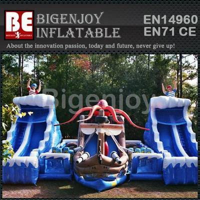 Inflatable pirate ship slide for promotional