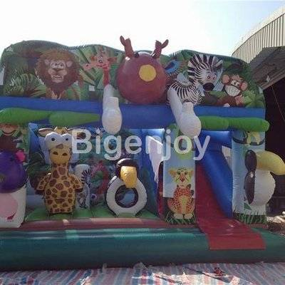 Factory price inflatable jungle animal themed bounce slide