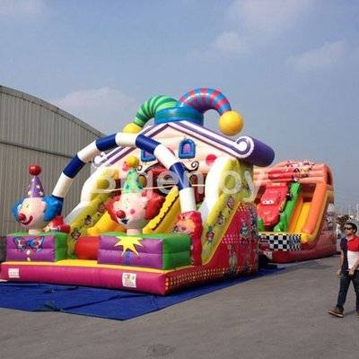 Inflatable clown jumping castles slide